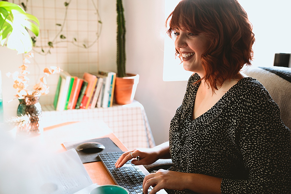 woman working on ideas for blogging